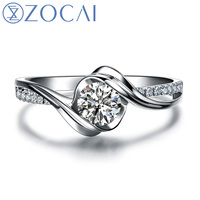 "ZOCAI  ENCOUNTER ""0.7 CARAT EFFECT"" 0.3 CT CERTIFIED I-J / SI ROUND CUT 18K WHITE GOLD DIAMOND ENGAGEMENT RING W02534"