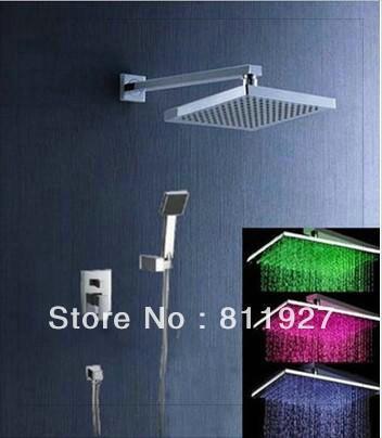Новый! высокий уровень из светодиодов температура ванная комната скрыта inwall осадки смеситель для душа комплект со скидкой быстрая доставка сосуд раковина