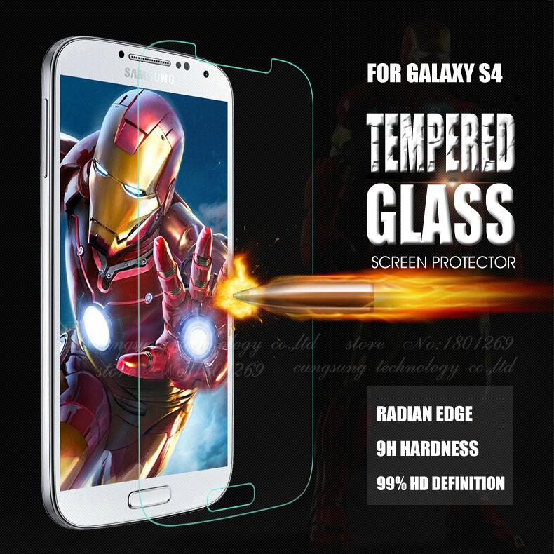 Premium S4 Tempered Glass Film LCD Guard Explosion Proof Screen Protector for Samsung Galaxy S4 i9500 i9505 Protective Film(China (Mainland))