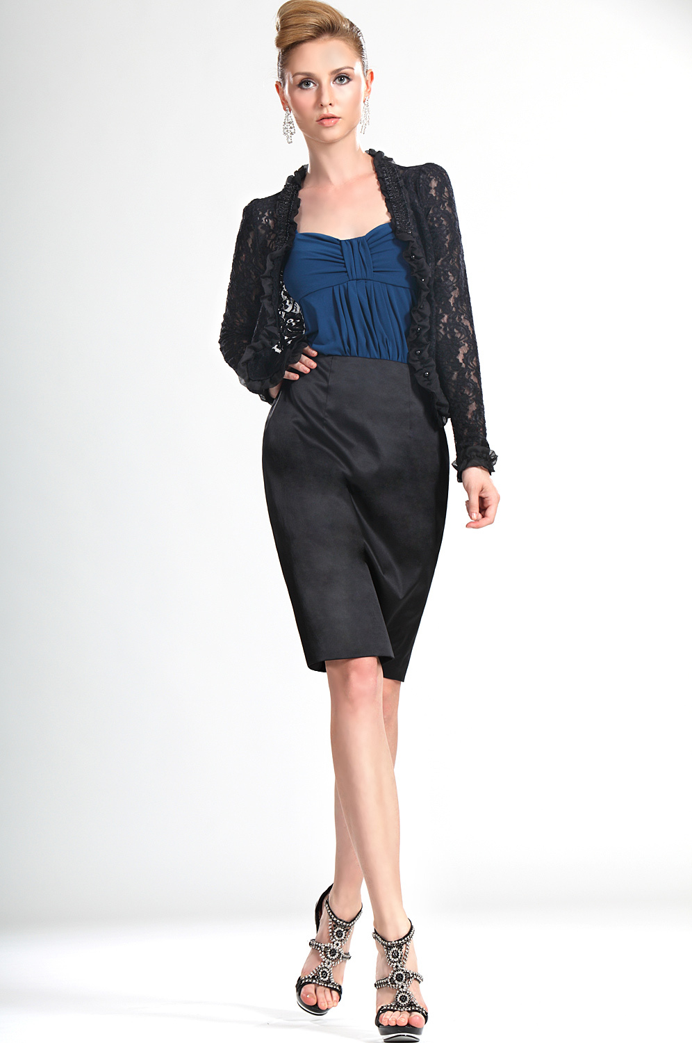 Knee length sheath trendy new arrival designer couture for Cocktail dress with jacket for wedding