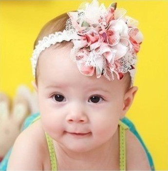 Hot sale chiffon flower headband hair band headwrap baby girl hair accessories 10pcs/lot 2colors  640024J