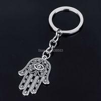Wholesale Retail Fashion Evil Eye Sliver Plated keyring Hamsa Fatima Hand Alloy Keychain Hot Selling Key Chain
