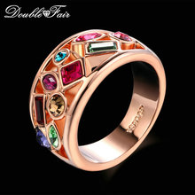 Buy Double Fair Luxury Cocktail Austrian Crystal Rings Rose Gold Color Fashion Brand Retro Jewelry Gift Women anel aneis DFR018 for $4.22 in AliExpress store