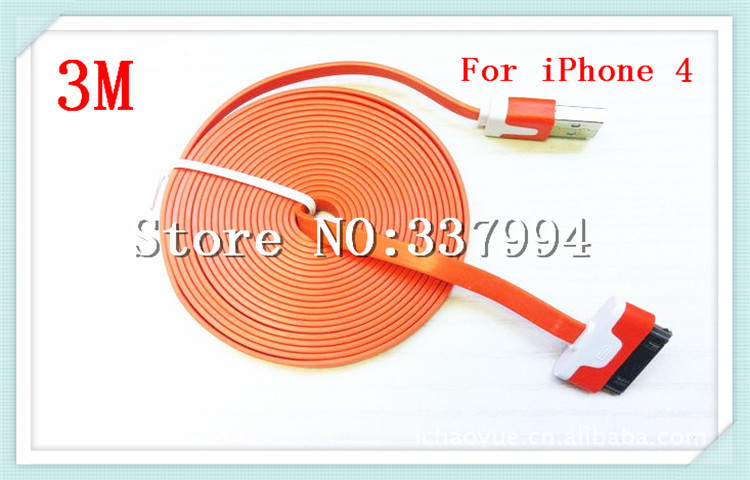 Free Shipping 100 pcs/lot 3 m colorful Noodle flat Charging Cord USB Data Sync Cable For iPhone 4 4S 3GS 3G iPod Nano(China (Mainland))