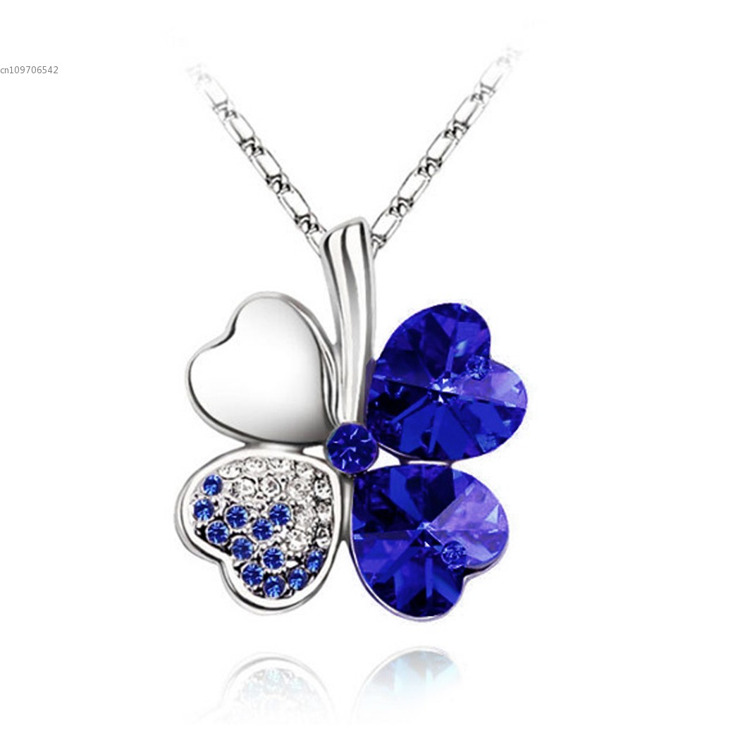 2014 New Christmas Gifts Direct Sale Clovers Heart necklace lucky grass clover crystal fashion jewelry 31(China (Mainland))