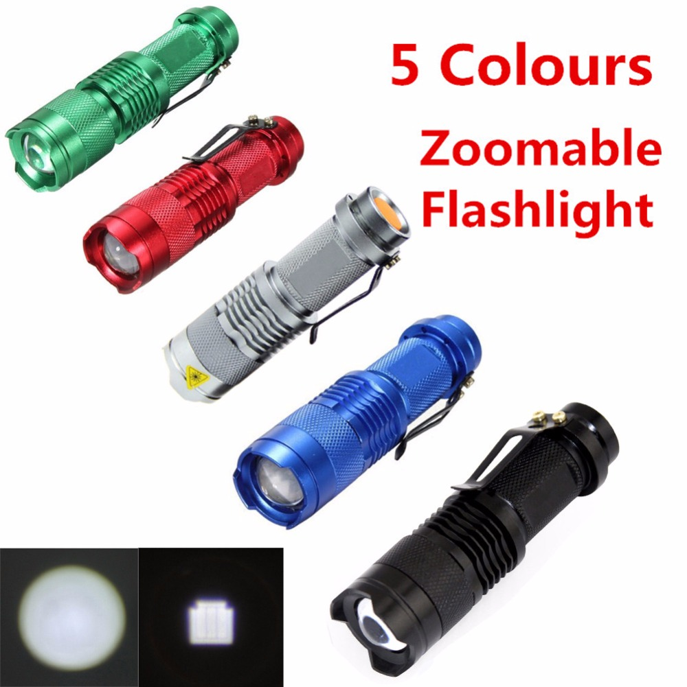 Mini Cree Q5 2000 Lumens 3 Modes LED Flashlight Adjustable Focus Lamp Torch Camping Lantern Hunting Lamps Five Color(China (Mainland))