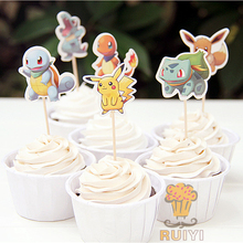 24pcs cartoon Anime pokemon go Pikachu candy bar cupcake toppers pick fruit picks baby shower kids birthday party supplies(China (Mainland))