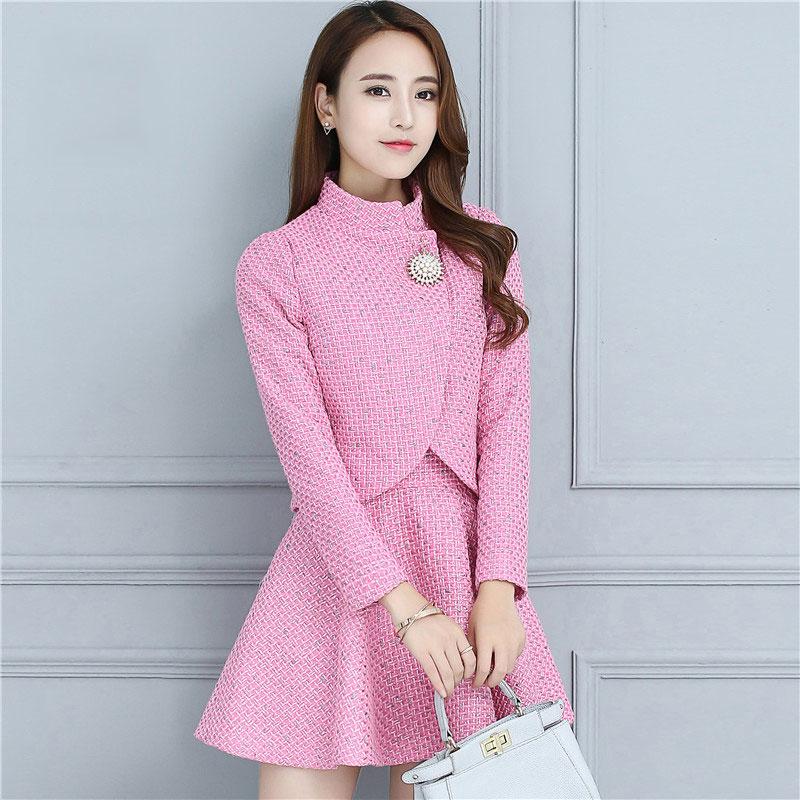 New Women's Wool Coat Sets Autumn and Winter 2016 Fashion Elegant Slim 2 Pieces Sets Vest A-Line Dress + Wool Jacket Female(China (Mainland))