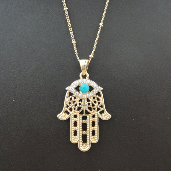 1PC Hamsa Fatima Hand Charm Pendant Necklace Evil Eye Inlaid Turquoise Bohemian Style Gold Accessories 8177 - fine accessory store