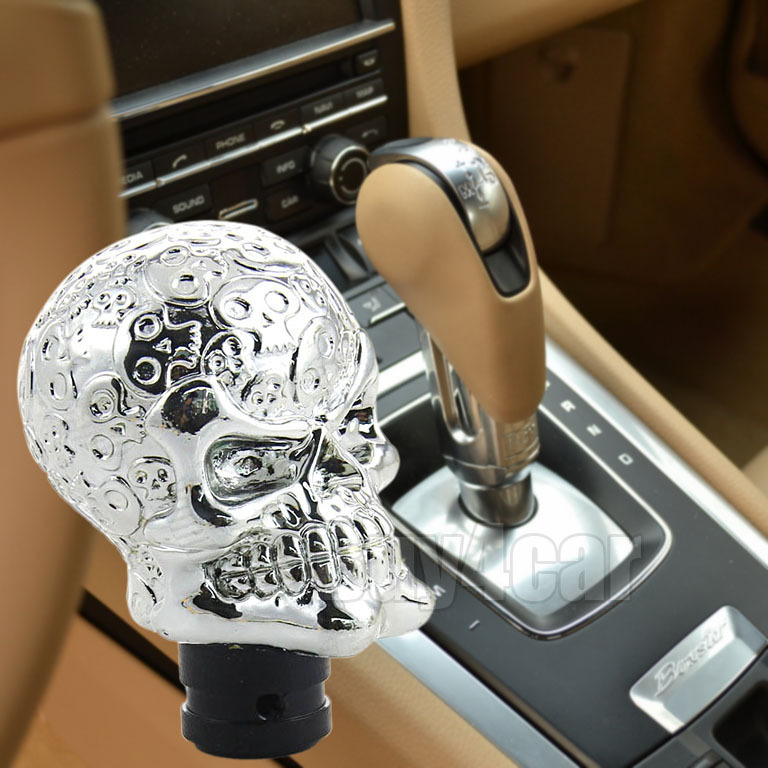 Car interior Accessories Decoration Cool Silver Skull Shape Universal Auto Truck Gear Shift Knob Manual Shift Lever Knob #4517(China (Mainland))