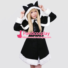 Free Shipping Gothic lolita punk Wool black jacket Coat Cape dress cosplay costume Tailor-made[G232]