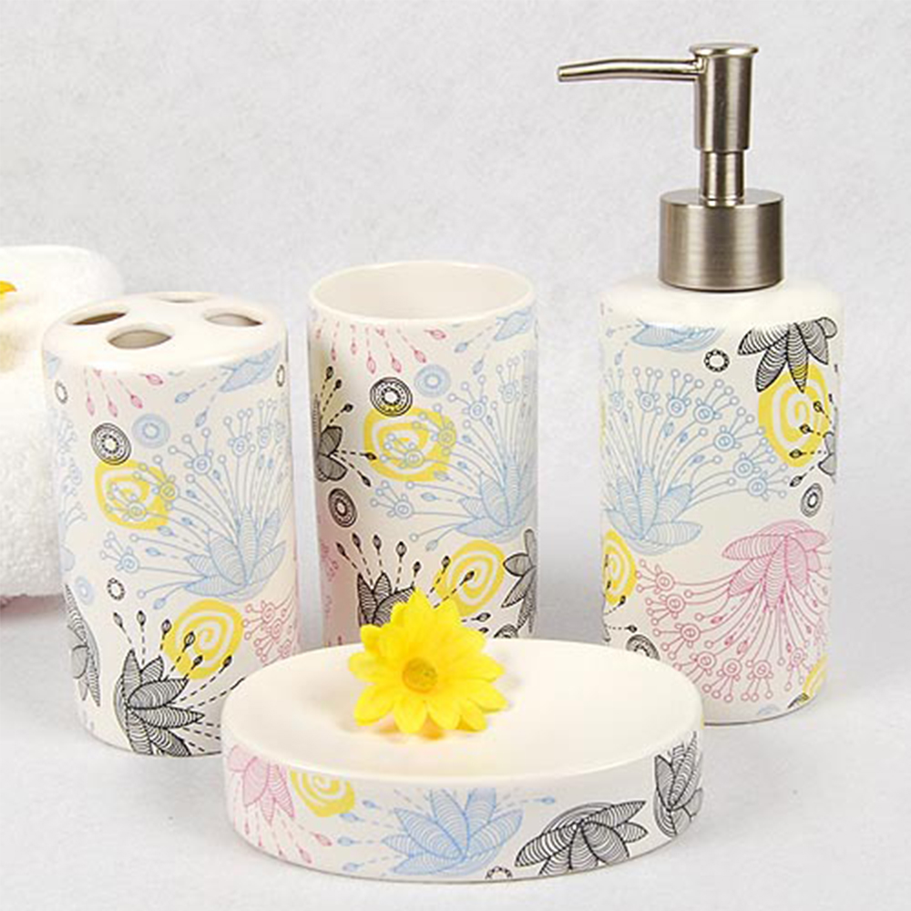 Set of bathroom ceramic accessories bath set eco friendly for Ceramic bathroom accessories sets