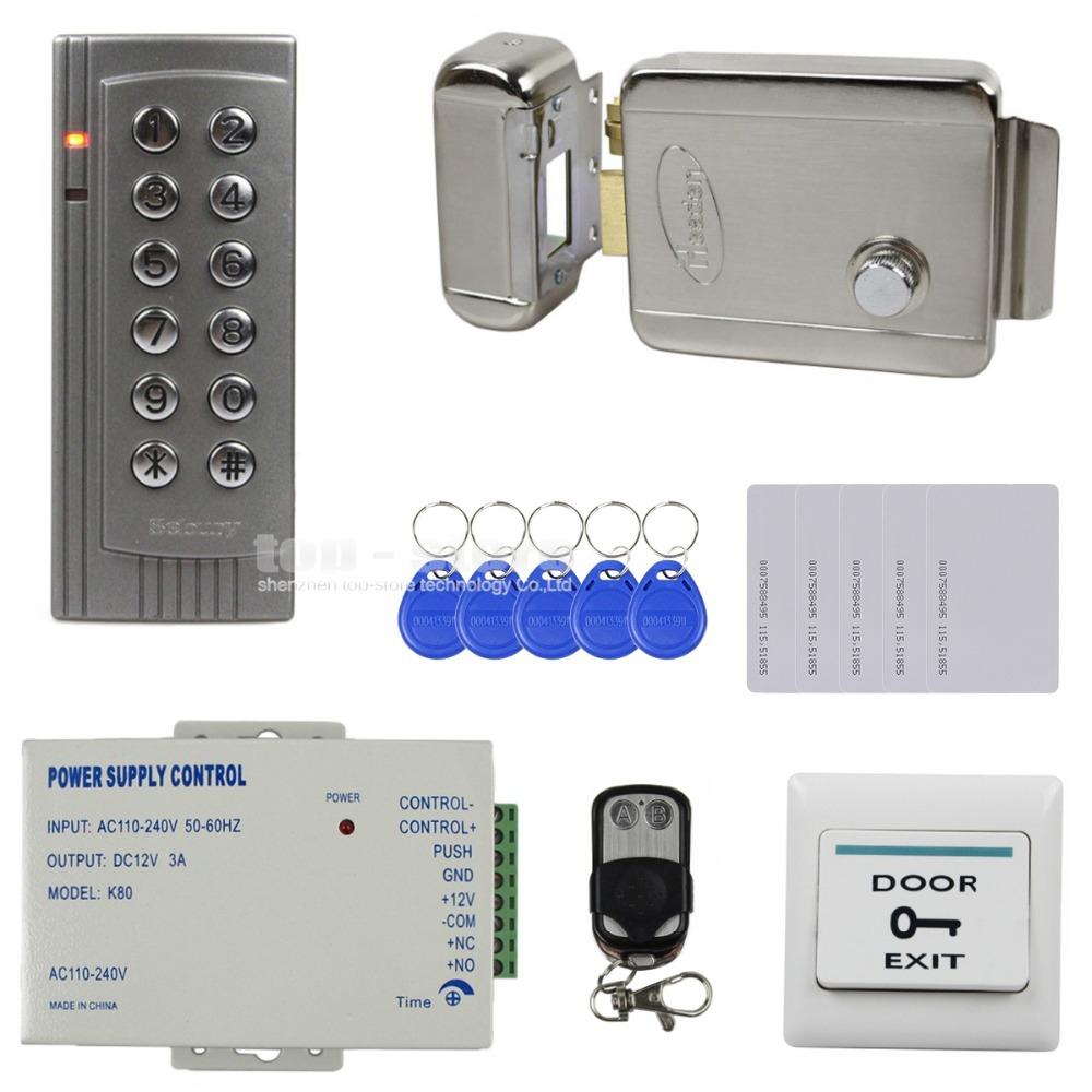 DIY Full Kit Set 125KHz RFID Reader Password Keypad Access Control System Security Kit + Electric Lock + Remote Control K4(China (Mainland))