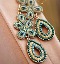 Free Shipping!2013 Drop fashion bohemia cutout flower tassel big earring drop earring earrings accessories(China (Mainland))