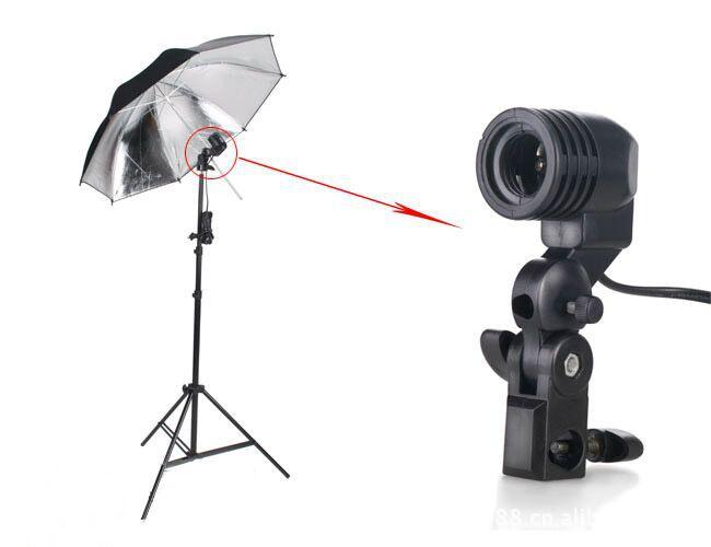 GOOD QUALITY Flash Umbrella Bracket Studio Photography Single Head Photo Lighting Bulb Holder(China (Mainland))