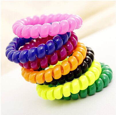 Promotional- 2014 New CThe telephone line scrunch Korean candy color hair ornaments Korean Hair Ropes For Woman(China (Mainland))