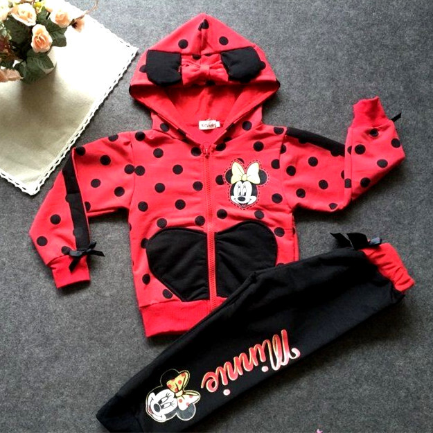 minnie baby boy and girls kids clothes red girls clothing sets Hooded Sweatshirts + pants girls clothes<br><br>Aliexpress