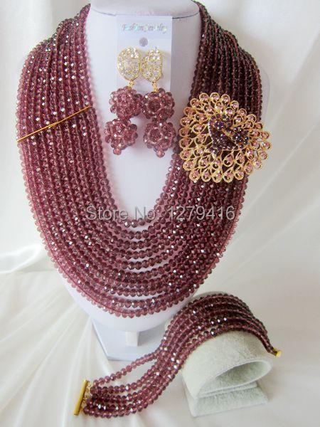 Fashion Nigerian African Wedding Beads Jewelry Set , Crystal Necklace Bracelet Earrings Set  T-869<br><br>Aliexpress