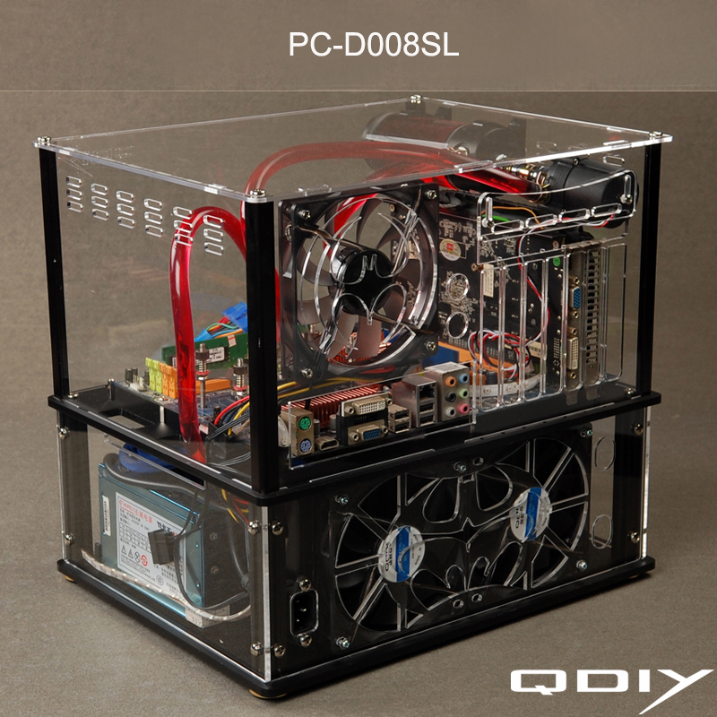 QDIY PC-D008SL Colorful Horizontal E-ATX Transparent PC Water Cooled Acrylic Computer Case(China (Mainland))