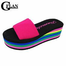 High Heels Sandals Slippers Rainbow Non-Slip Thick Soled Female Platform Wedge Women Slippers Summer 2016 Beach Slippers(China (Mainland))