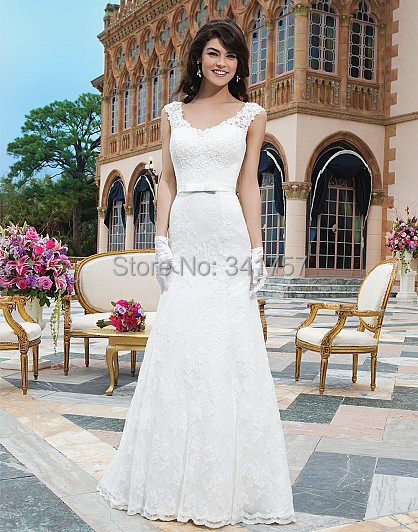 Design Wedding Dresses Top Lace 2015 Bridal Gowns Mermaid Sashes Vestido Branco V Neck Cap Sleeve Low Back Custom WL3098 - Full Romantic store