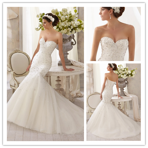 Free shipping we 2169 strapless sweetheart neckline fit for Sweetheart neckline wedding dress with bling
