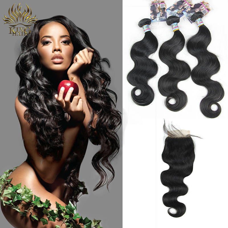 Brazilian virgin hair with closure brazilian hair weave bundles blench knots lace top closure 3 pieces hair with 1 closure<br><br>Aliexpress