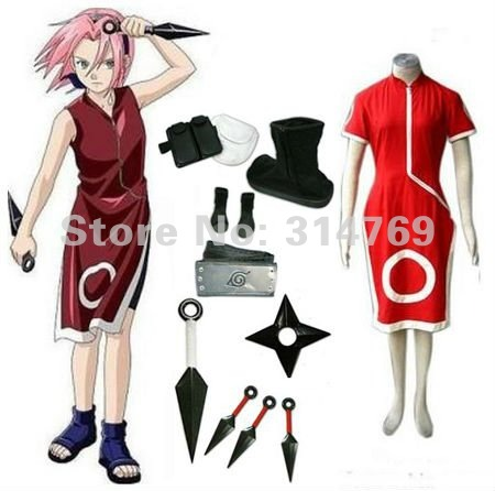 Manga Amime Naruto Cosplay Costume- Naruto Haruno Sakura Skirt Women's Cosplay Costume Set Accessories, Halloween /Party Cosplay