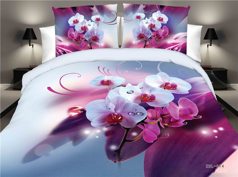 A one-stop delivery of export Phalaenopsis floral print bed 3D pattern textile four piece bedding bed linen bedspreads clothing(China (Mainland))
