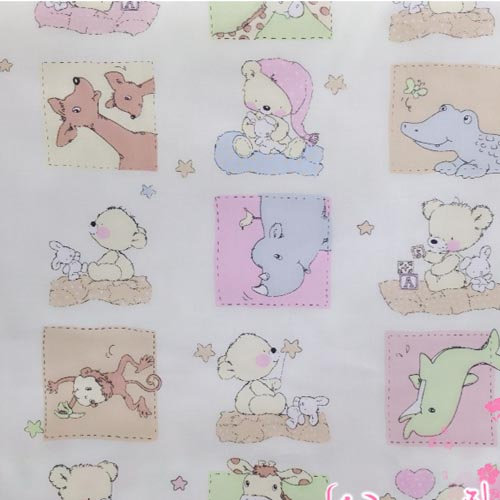 100% Cotton twill square animals greeen fabrics For sewing Cushions kids chic dolls tilda Textile Quilting cloth by meter(China (Mainland))