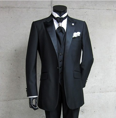 Real Photo Handsome Groom Tuxedos Groomsman Costume Business Suits Prom Suits Jacket Pants Vest Tie NO