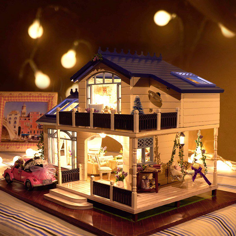 1:24 DIY Wooden Handcraft Miniature Doll house Voice-activated &Music with Cover Provence Handmade 3D Dollhouse Toys Girl Gift