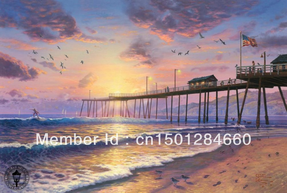 """Handmade Beach Sea oil painting on canvas """"Footprints in the Sand"""" Thomas Kinkade seascape art pictures wall decoration no frame(China (Mainland))"""
