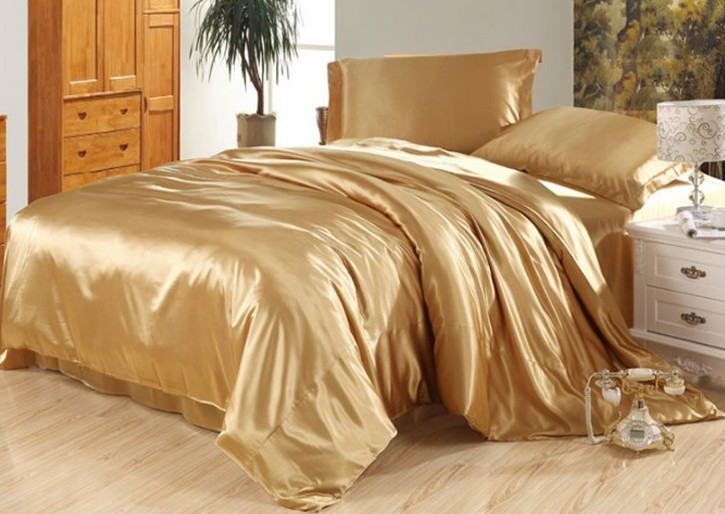 7pcs luxury camel tanning silk bedding set satin sheets - Housse de couette jaune ...