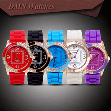 Wholesale  Silicone Rubber Strape Watch With Crystal Fits Women Ladies Quartz Dress Watch Wristwatches M-046
