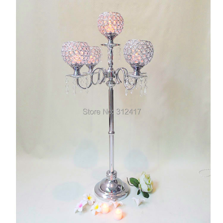 Hotsale arm crystal glass silver candelabra with flower