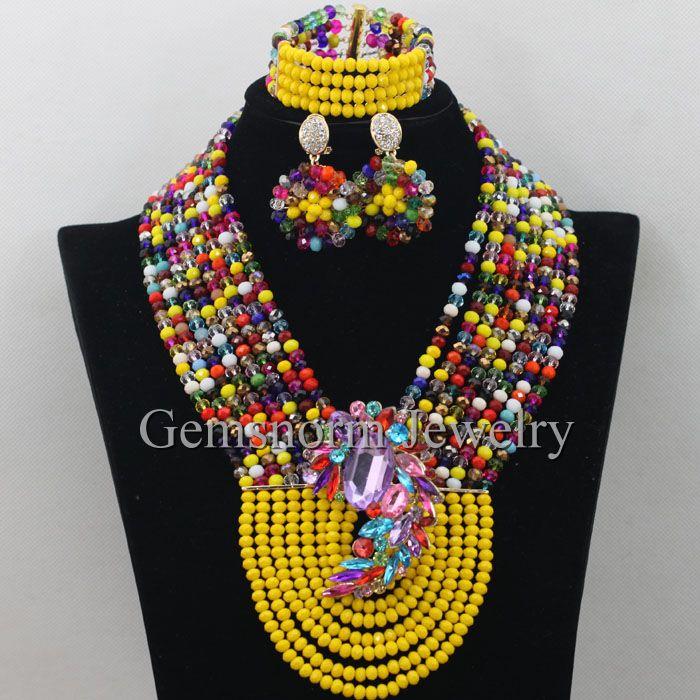 Mustard yellow nigerian wedding african beads jewelry set for Mustard colored costume jewelry