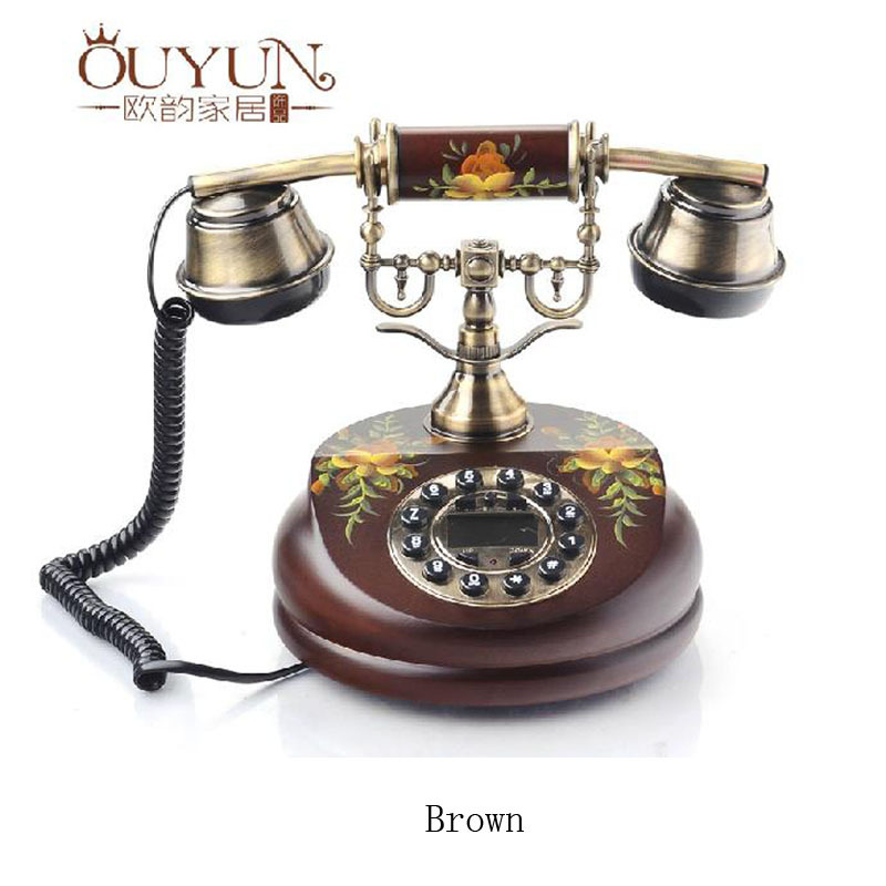 New Arrive Fashion Rustic Handmade Painting Home Decoration,Europe Type Antique Telephone Solid Wood Retro Landline Phones
