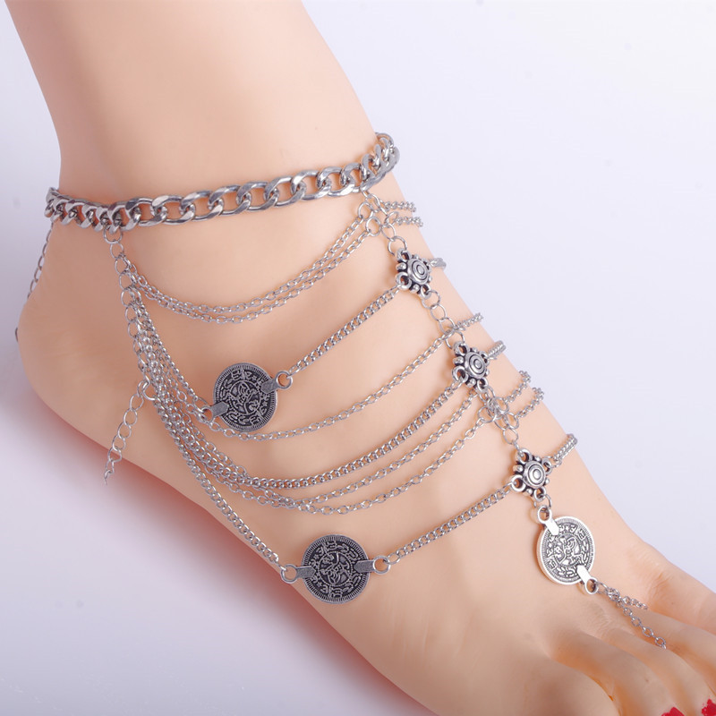 Bohemian Coin Anklet Silver Chain Tassel Turkish Barefoot Sandal Foot Jewelry Female Feet Bracelet(China (Mainland))