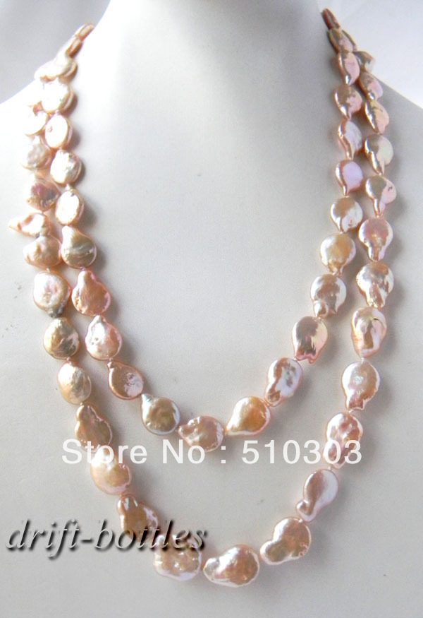 45'' Pink 13 mm Baroque Coin Freshwater Pearl Mabe Clasp Necklace - China beautiful-women jewelry factory store