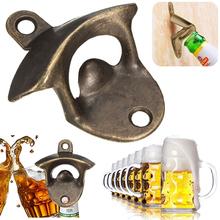 Vintage Bronze Wall Mounted Opener Wine Beer Soda Glass Cap Bottle Opener Kitchen Bar Gift