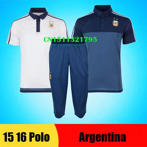 Chandal Argentina 2016 polo shirt training soccer jerseys 15 16 survetement football Argentina Messi training pant sport uniform(China (Mainland))