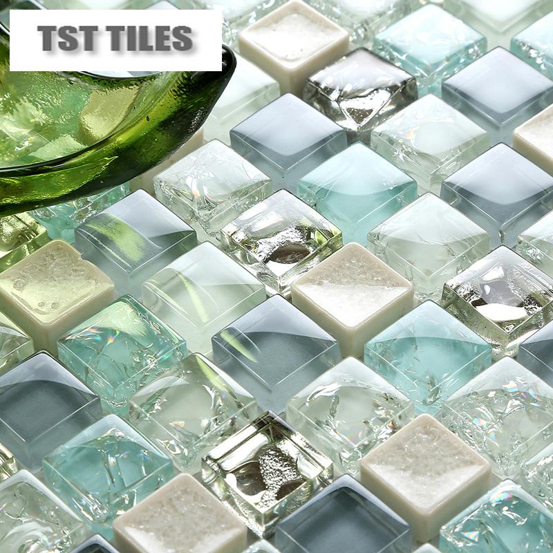 Sea glass tiles backsplash
