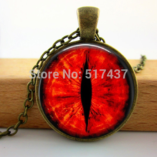 2015 New Round Glass Necklace Red Dragon Cat Eye Necklace Fantasy Picture Photo Art Handmade Jewelry Glass Photo Necklace(China (Mainland))