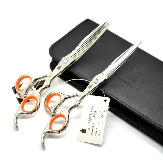 10 sets/lot Promotion Wholesale red Antiskid - ring Haircut Scissors pet scissors Set cutting scissor and thinning shears kit