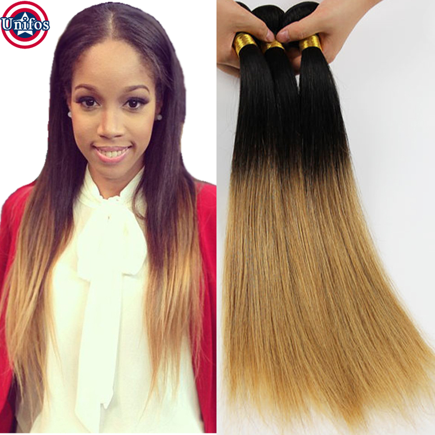 Peruvian Straight Ombre Hair Extensions Honey Blonde Two Tone Human Hair Weaves Blonde Ombre Virgin Hair 1b27 Blonde Ombre Weave