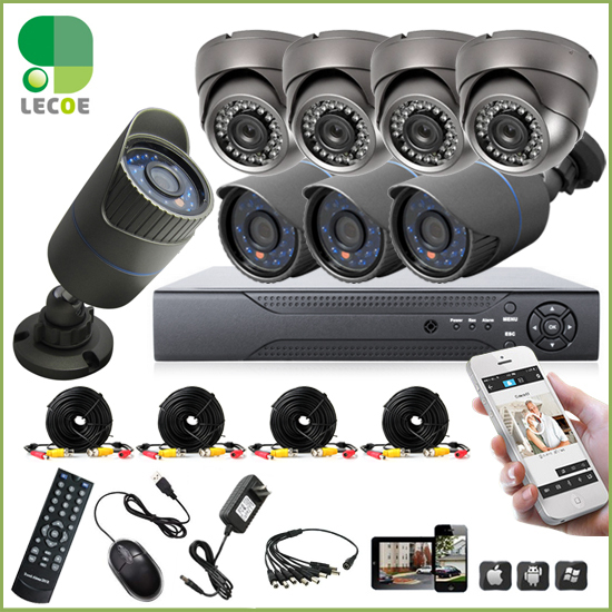 8pcs full 720P1.MP AHD camera  8CH surveillance System AHD DVR KIT CCTV video recorder  home security system<br><br>Aliexpress