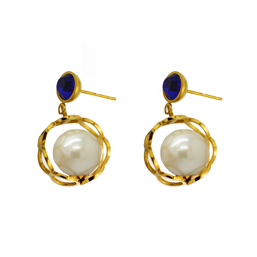 2016 new fashion women jewelry purple crystal pearl earrings hypoallergenic earrings jewelry 18k gold plated stainless steel(China (Mainland))