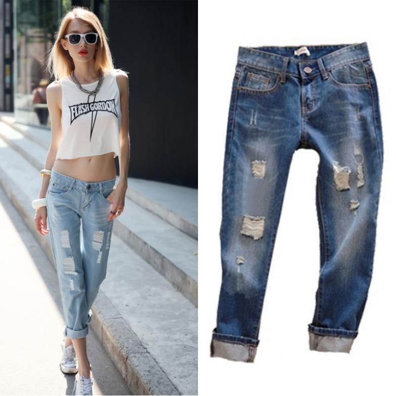 Гаджет  2015 Fashion Summer Jeans Woman Wearing White Retro Hole Women Jeans Casual Ripped Jeans For Women Plus Size Roll Up Women Jeans None Одежда и аксессуары