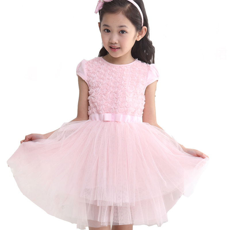 2015 Children Summer Style Baby Girl Dress Kids Party Dresses For Girls Clothes Pink Rose Princess Tutu Dress Vestidos Infantis(China (Mainland))